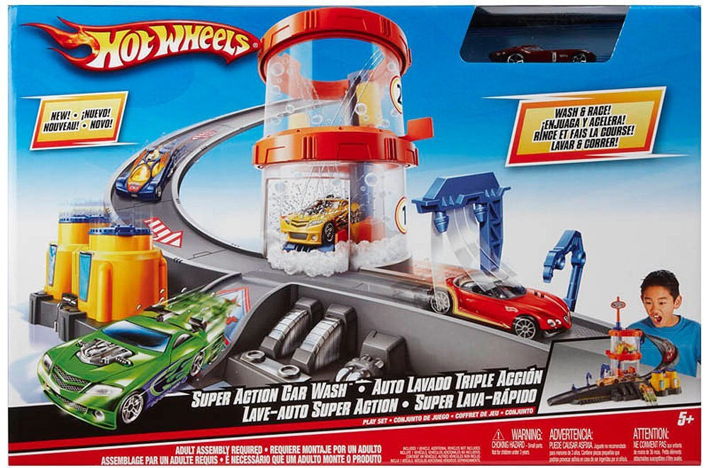 Hot Wheels Auto Lavado Triple Accion Juguetron