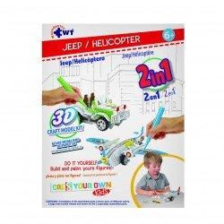 Rompecabezas De Papel 3D Jeep/ Helicóptero