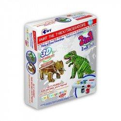 Rompecabezas De Papel 3D Pinta El T-Rex/ Triceratops