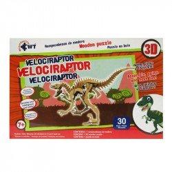 Rompecabezas 3D de Madera Wuundentoy Velociraptor