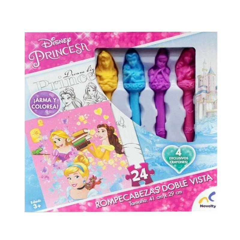 Rompecabezas doble vista con crayones princesas caja carton juguetron - Caja rompecabezas ...