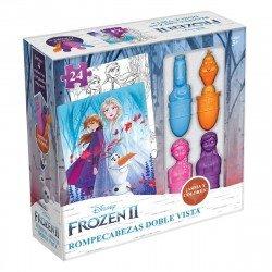 Rompecabezas Doble Vista Con Crayones Frozen Ii