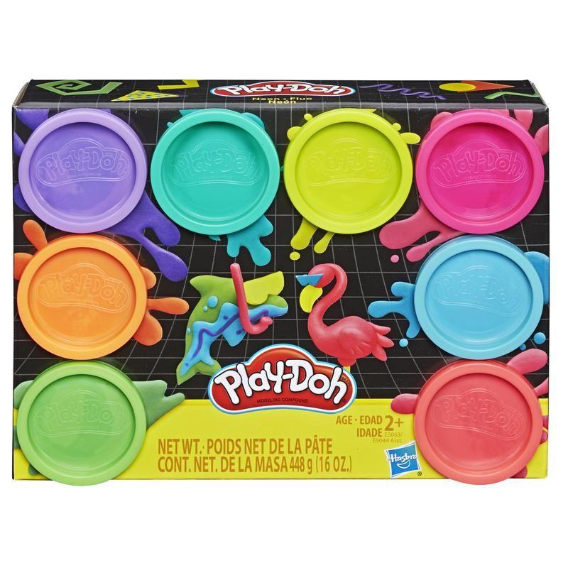 Play-Doh E5063 Play-Doh Neón - Empaque de 8 latas de masa modeladora no tóxica con 8 colores Juguete Hasbro