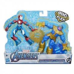 Marvel E9197 Marvel Avengers Bend and Flex Empaque de Dos Figuras Juguete Hasbro