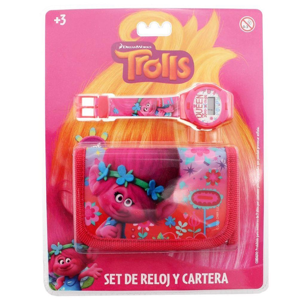 SET RELOJ DIGITAL BASICO Y CARTERA TROLLS ROSA