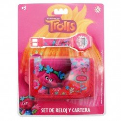 SET RELOJ DIGITAL BASICO Y CARTERA TROLLS ROSA