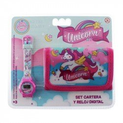 Set De Reloj Y Cartera Unicornios