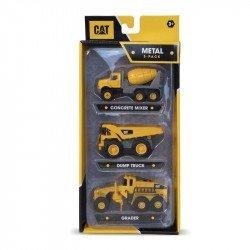 Set Metal 3 Pack CAT: Mezcladora de concreto,Camión volquete y niveladora.