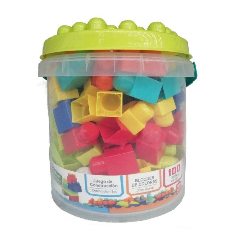 Color Blocks Cubeta de Bloques con 100 Piezas.